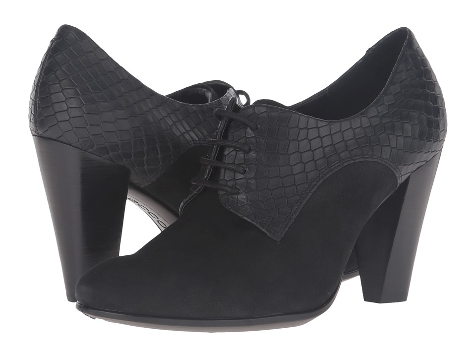 ECCO - Shape 75 Lace Pump (Black/Black Cow Nubuck) High Heels