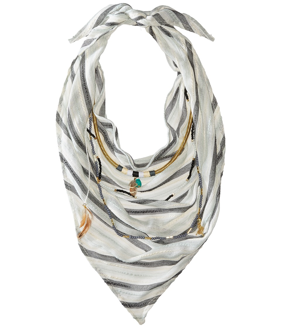 BCBGeneration - Striped Layered Triangle Scarf (Black) Scarves