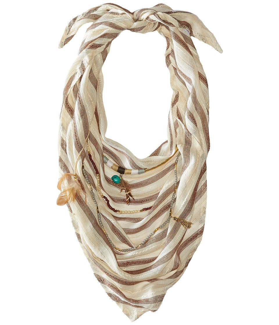 BCBGeneration - Striped Layered Triangle Scarf (Champagne) Scarves