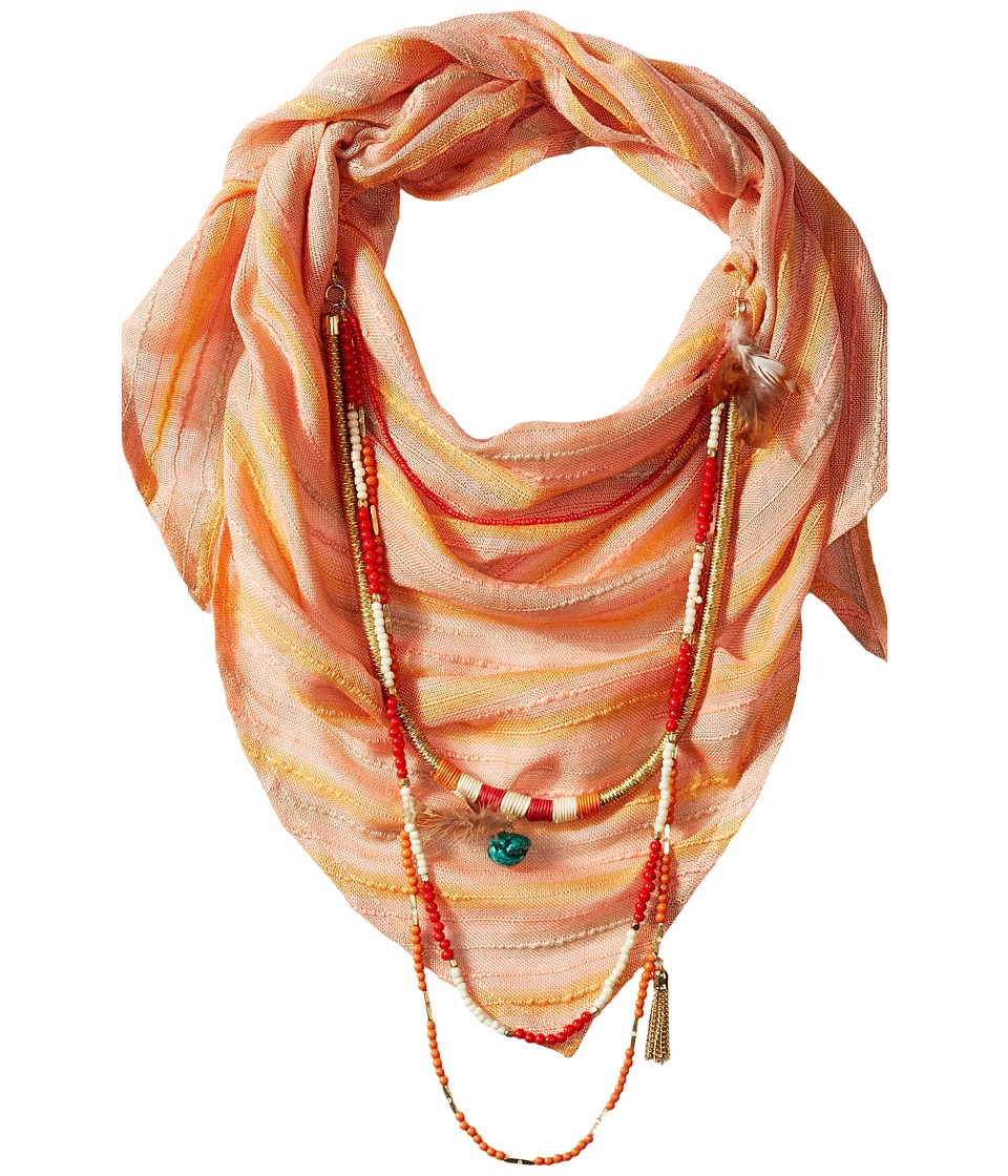 BCBGeneration - Striped Layered Triangle Scarf (Coral Reef) Scarves