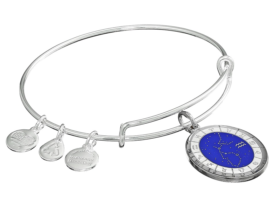 Alex and Ani - Celestial Wheel Aquarius Constellation Bangle (Shiny Silver) Bracelet