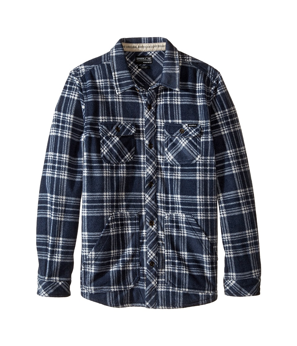 O'Neill Kids - Glacier Check Long Sleeve Shirt (Big Kids) (Navy) Boy's Long Sleeve Button Up