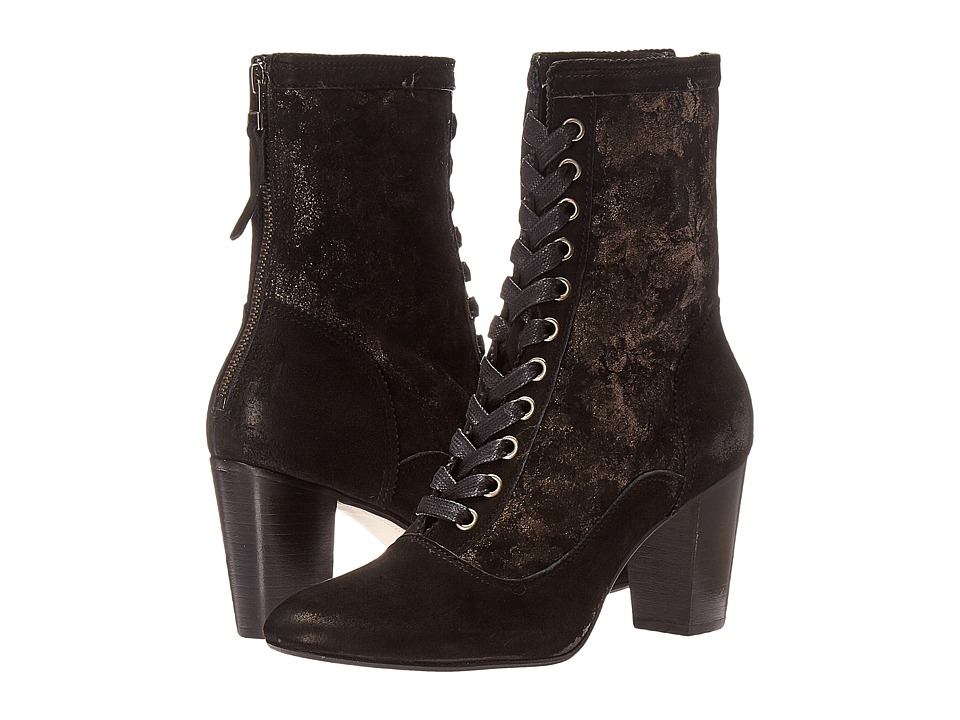 Johnston & Murphy - Adaline Bootie (Black Italian Kid Suede/Black Italian Metallic Printed Suede) Women's Lace-up Boots