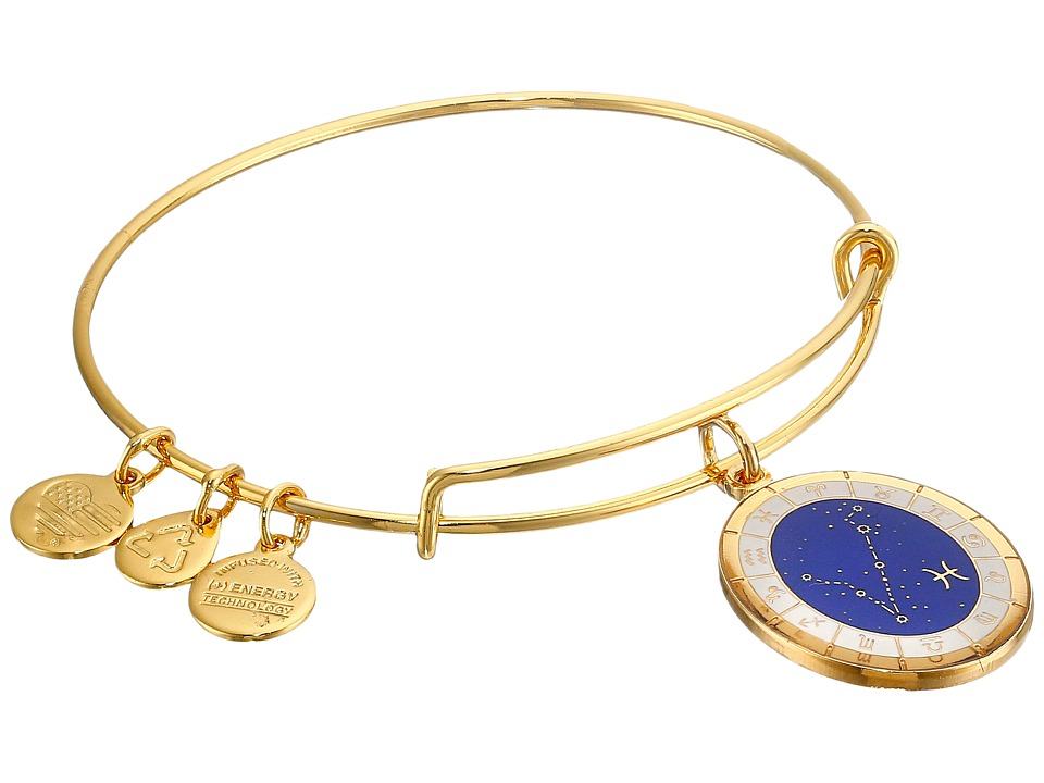 Alex and Ani - Celestial Wheels Pisces Constellation Bangle (Yellow Gold) Bracelet