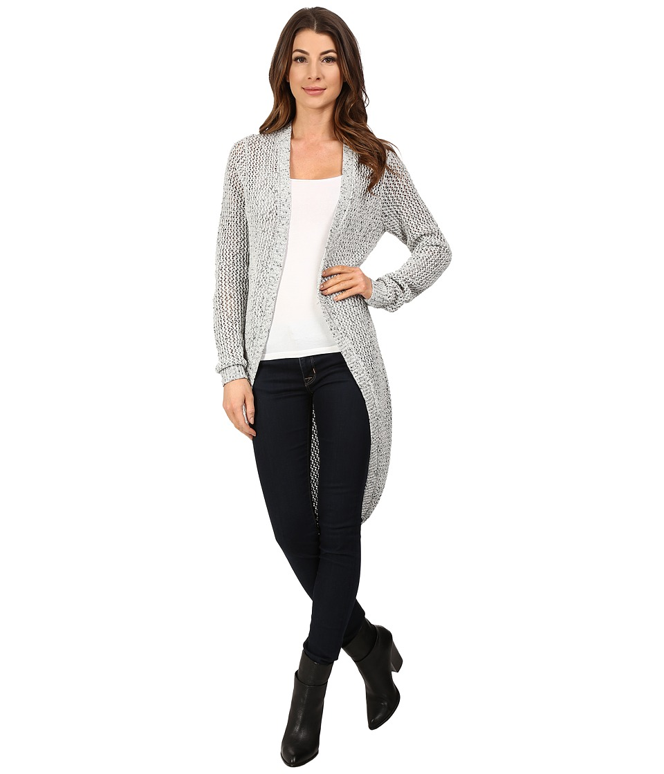 Blank NYC - Long Cardigan (Light Grey/Black Combination) Women's Sweater