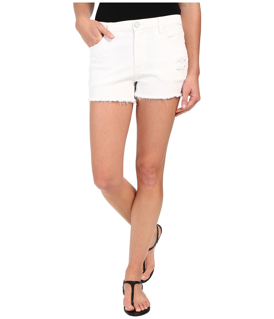 Blank NYC - Hi-Rise Short Cut Off Bottoms w/ Distressing (White) Women's Shorts