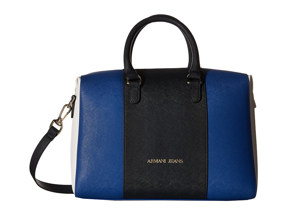 Armani Jeans - Color Block Boston Bag with Detachable Shoulder Strap (Blue Royal) Bags