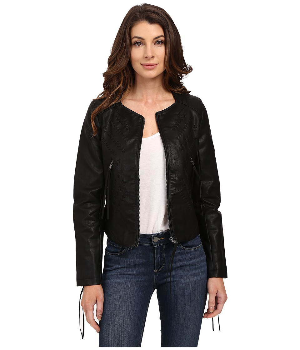 Blank NYC - Vegan Leather Crop Embroidered Jacket (Black) Women's Coat