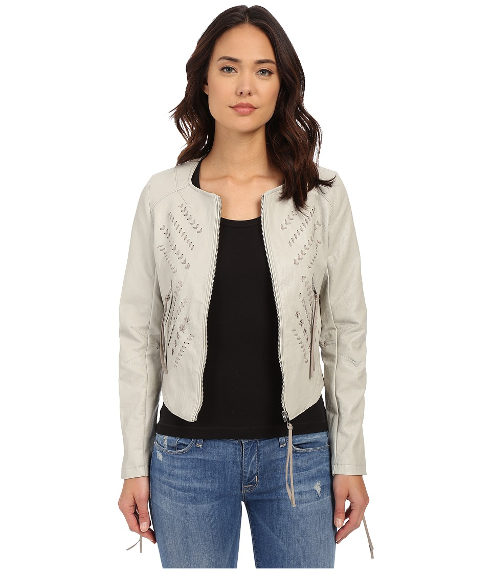 Blank NYC - Vegan Leather Crop Embroidered Jacket (Taupe) Women's Coat