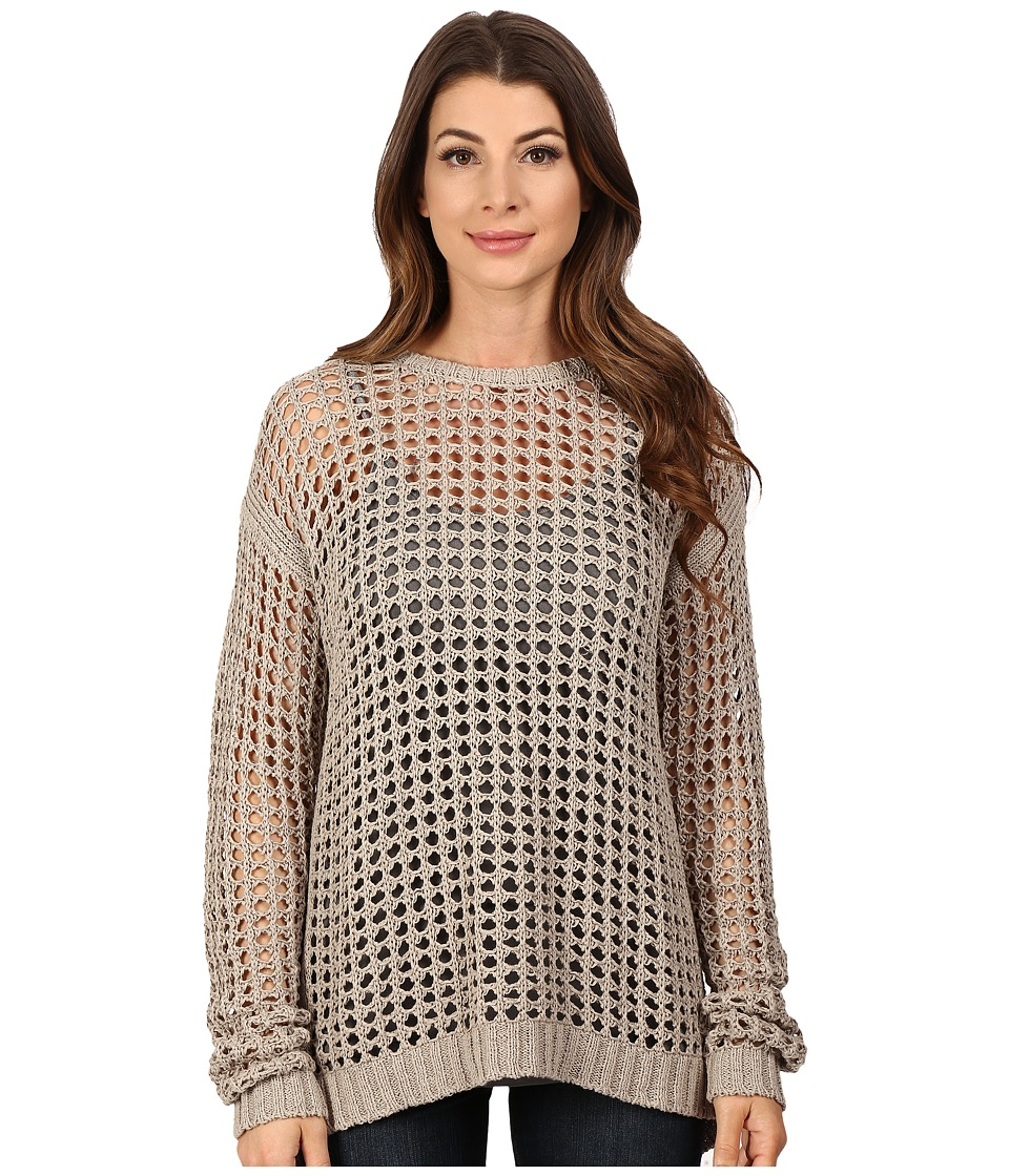 Blank NYC - Mesh Stitch Sweater with Open Back Detail (Stone Beige) Women's Sweater