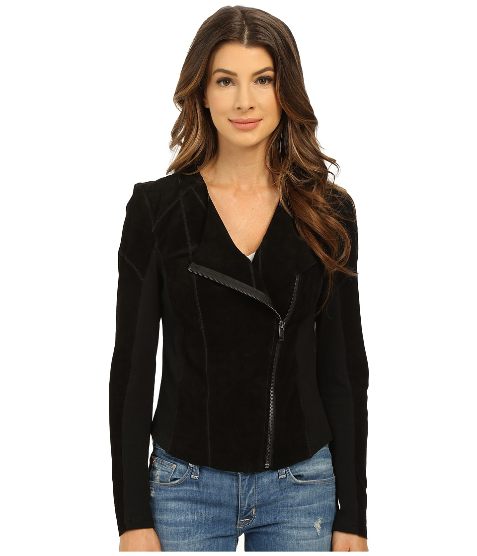 Blank NYC - Suede Moto Knit Jacket (Black) Women's Coat