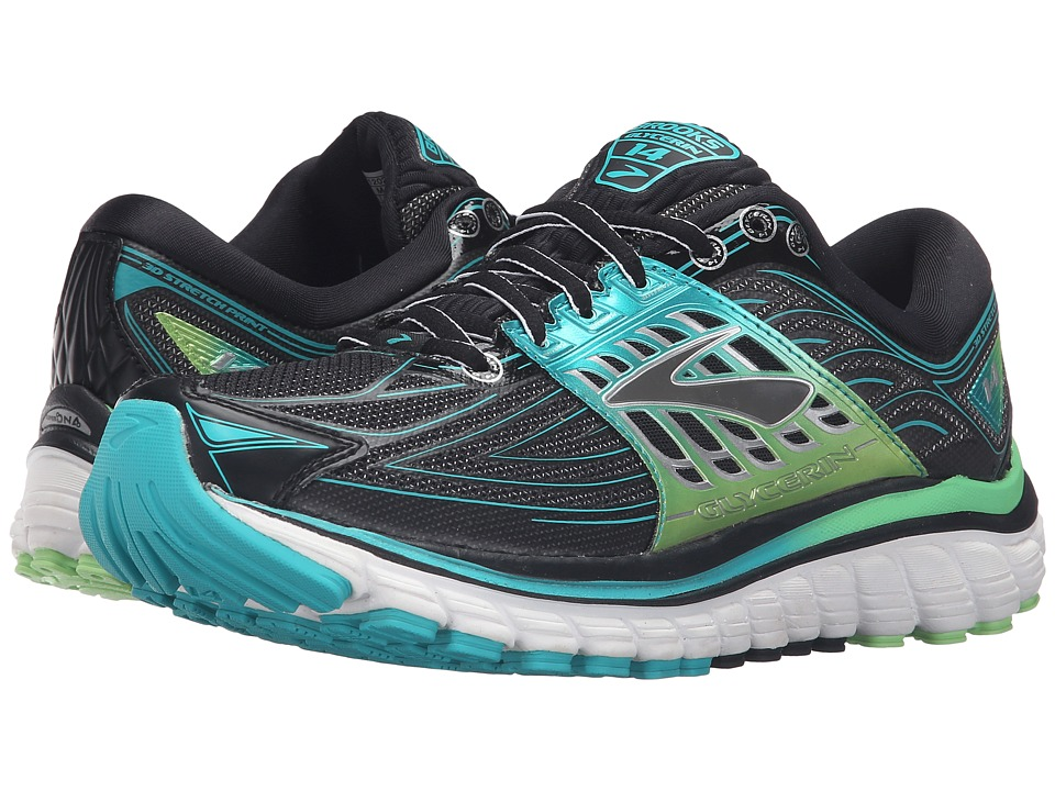 Brooks - Glycerin 14 (Black/Viridian Green/Silver) Women's Running Shoes