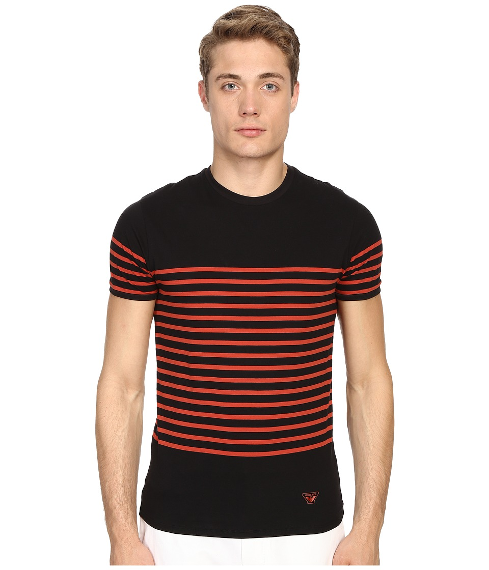 Armani Jeans - Stripped Crew Neck Tee (Black/Orange Stripes) Men's Short Sleeve Pullover