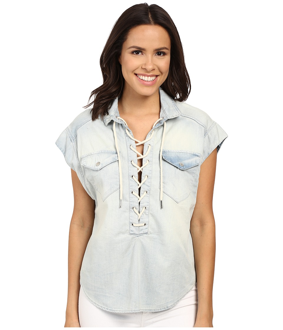 Blank NYC - Oversized Short Sleeve Tie-Up Denim Shirt (Denim Blue) Women's Short Sleeve Knit