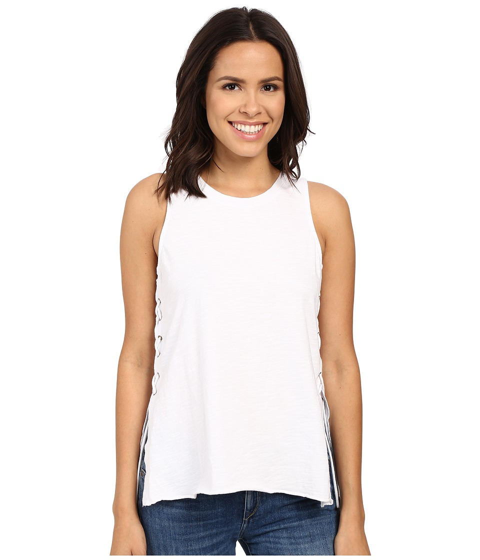 Blank NYC - Tank Top with Lace-Up Detail (White) Women's Sleeveless