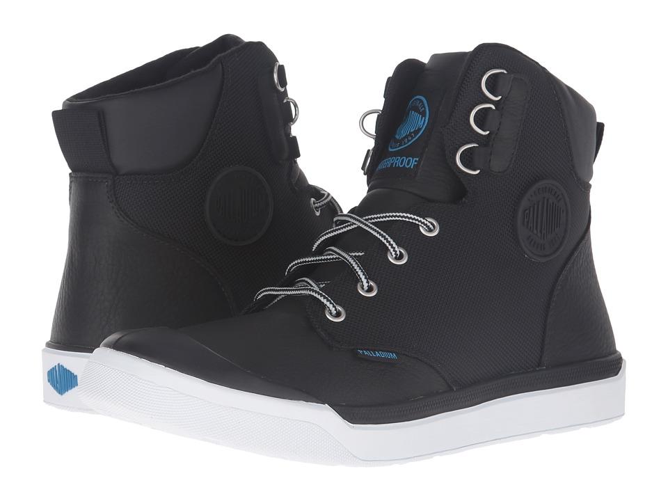 Palladium - Pallarue HI Cuff WP (Black/White) Men's Lace up casual Shoes