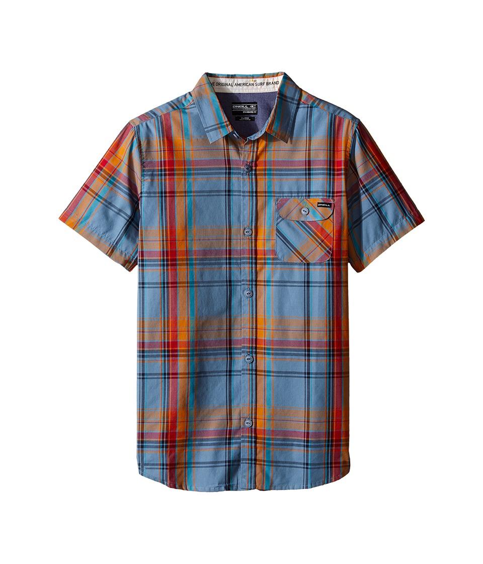 O'Neill Kids - Emporium Plaid Short Sleeve Shirt (Big Kids) (Blue) Boy's Short Sleeve Button Up
