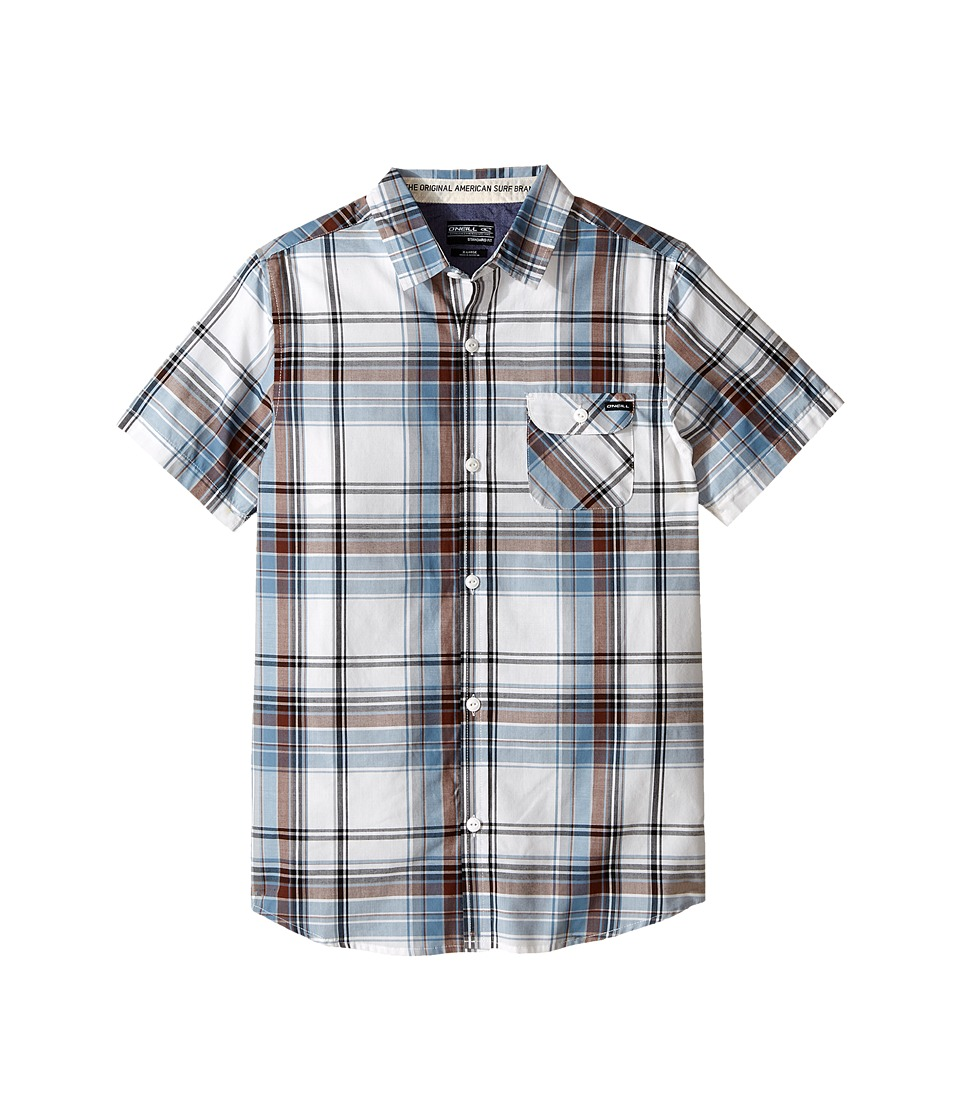 O'Neill Kids - Emporium Plaid Short Sleeve Shirt (Big Kids) (White) Boy's Short Sleeve Button Up