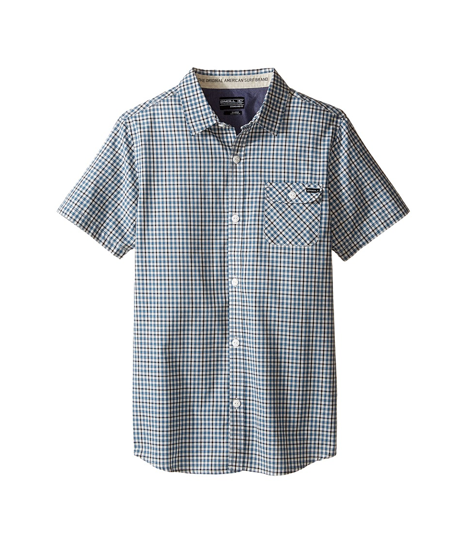 O'Neill Kids - Emporium Check Short Sleeve Shirt (Big Kids) (White) Boy's Short Sleeve Button Up