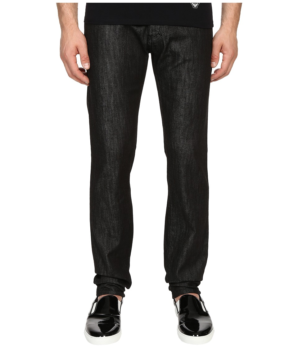 Armani Jeans - Slim Fit Five-Pocket Jeans in Black (Black) Men's Jeans