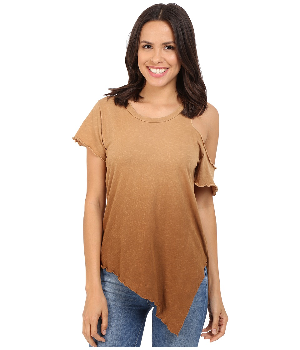 LNA - Cut Out Shoulder Tee (Ombre Khaki) Women's T Shirt