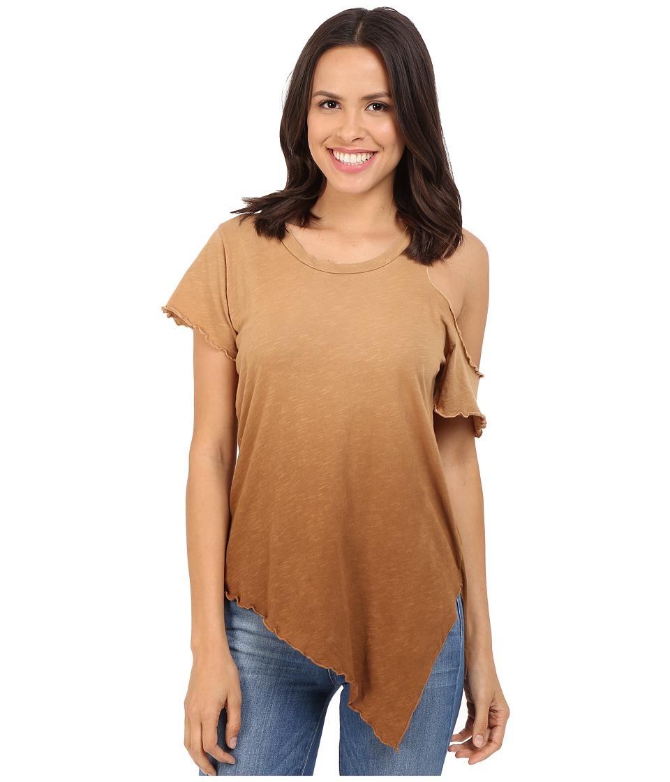 LNA - Cut Out Shoulder Tee (Ombre Khaki) Women's T Shirt
