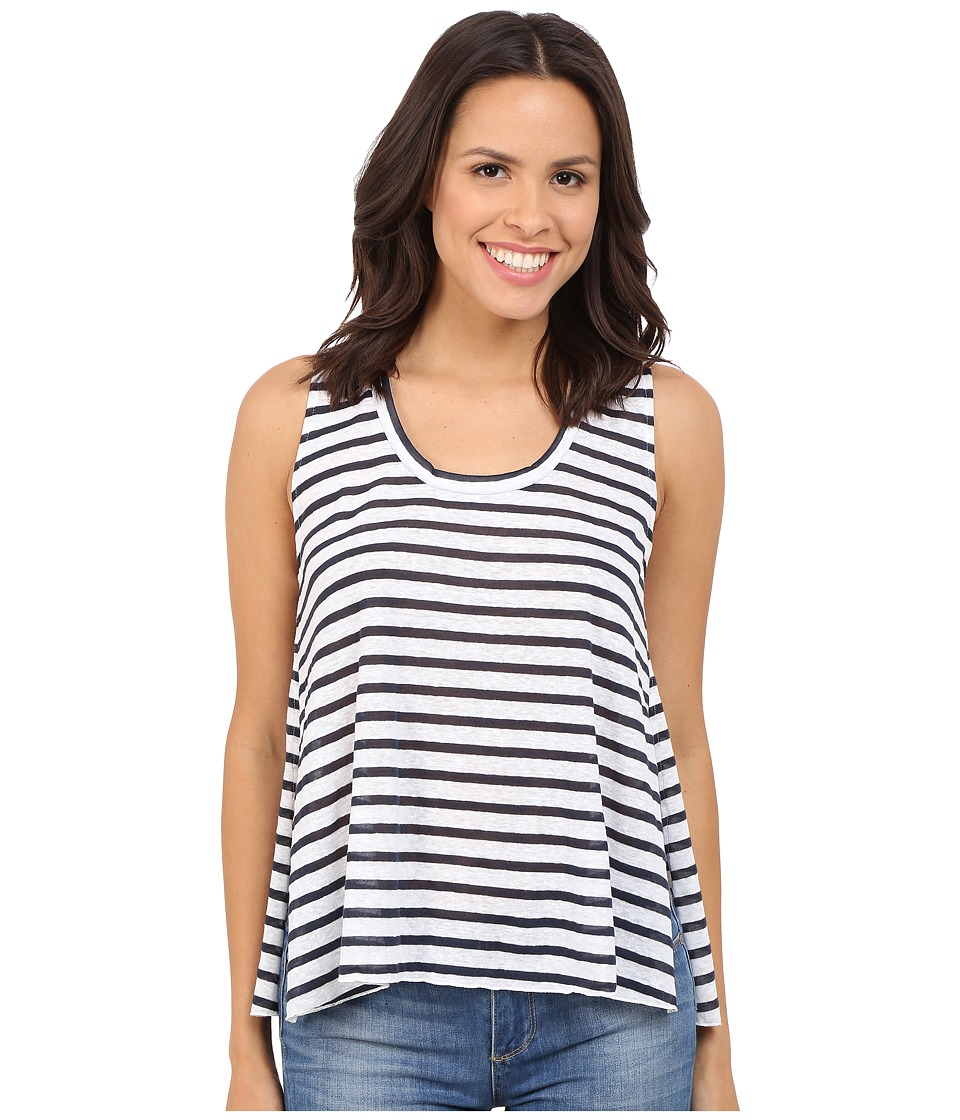 LNA - Open Tank Top (White/Navy Stripe) Women's Sleeveless