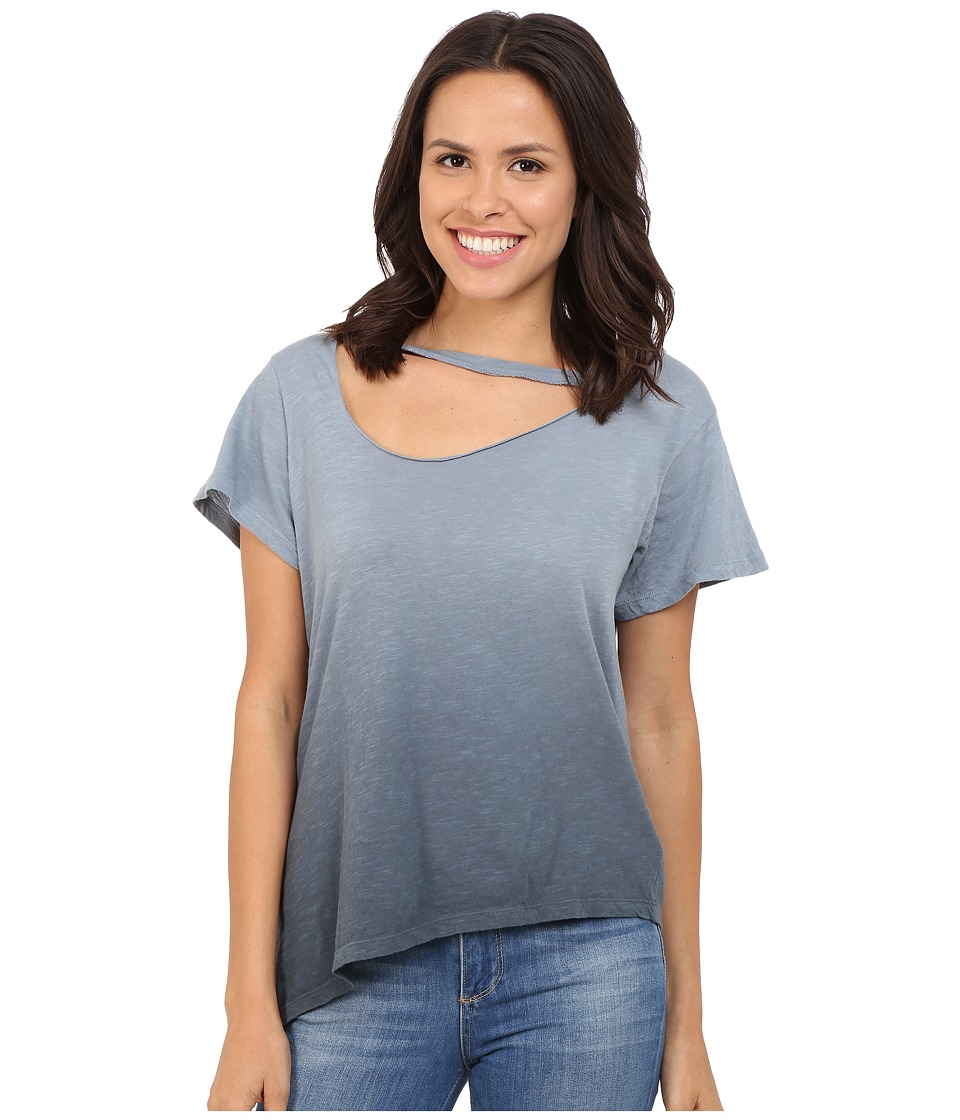 LNA - Slant Hem Mara Tee (Ombre Faded Black) Women's T Shirt