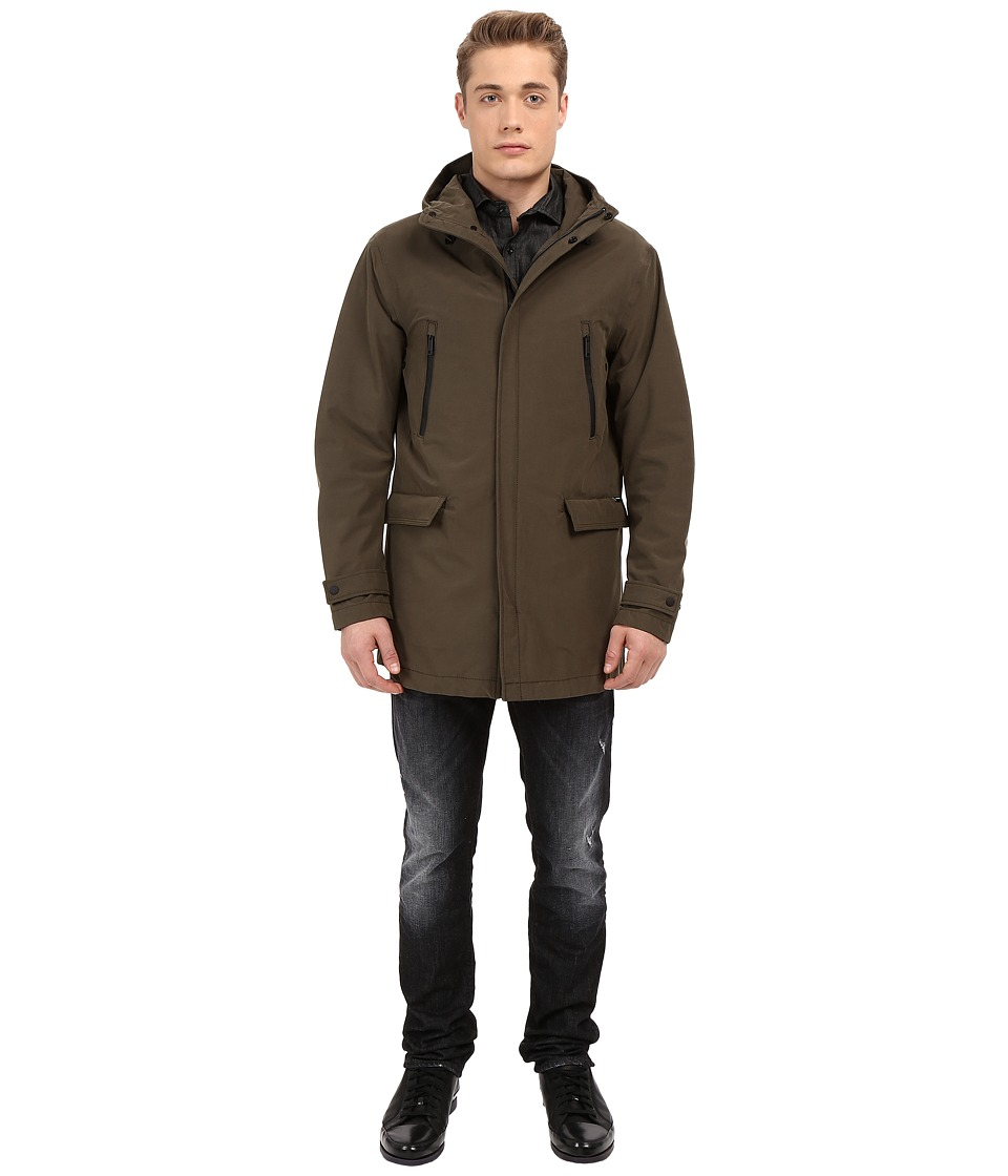 Armani Jeans - Waterproof Coat with Hood (Military Green) Men's Coat