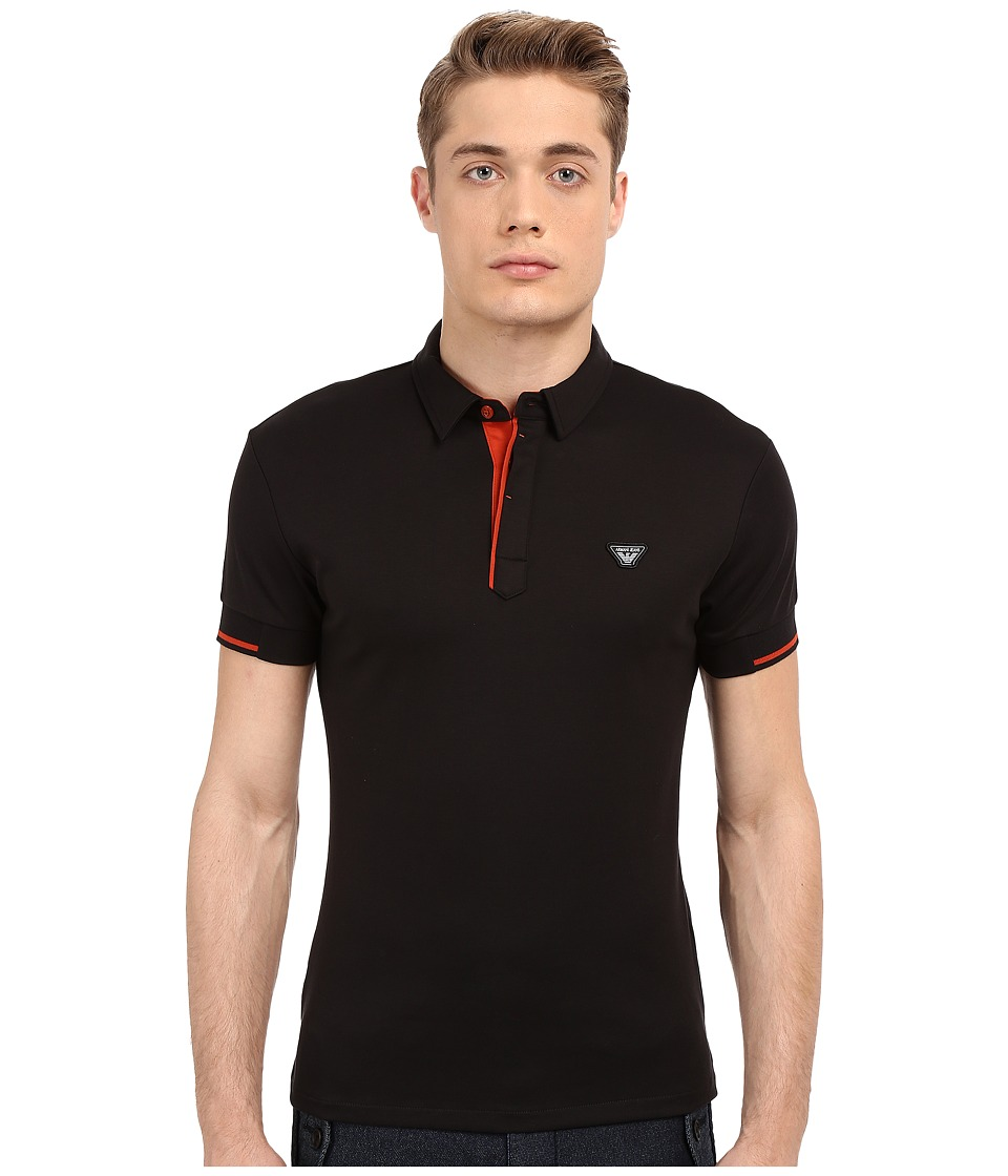 Armani Jeans - Contrast Piping Polo (Black) Men's Short Sleeve Knit