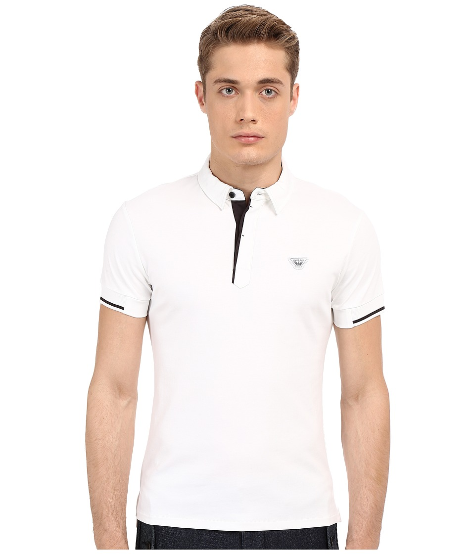 Armani Jeans - Contrast Piping Polo (White) Men's Short Sleeve Knit