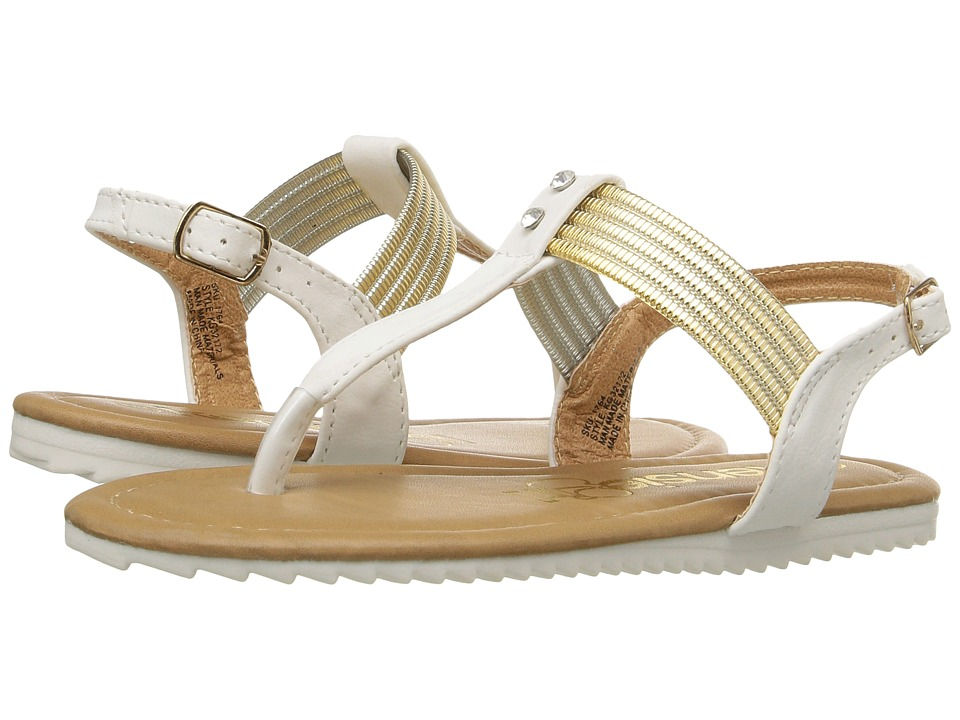 kensie girl Kids - Thong Sandals with Stones (Little Kid/Big Kid) (White/Gold) Girls Shoes