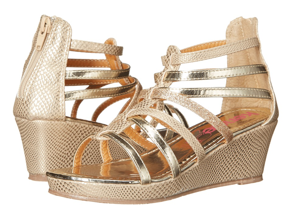 kensie girl Kids - Multi Strap Wedge Sandals (Little Kid/Big Kid) (Gold) Girls Shoes