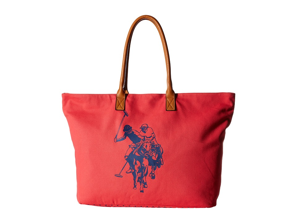 U.S. POLO ASSN. - Branded Canvas Tote (Rogue Red) Tote Handbags