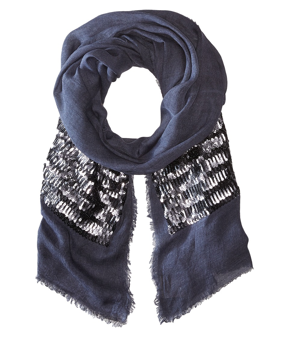 Vince Camuto - Sequin Treasure Wrap (Navy) Scarves