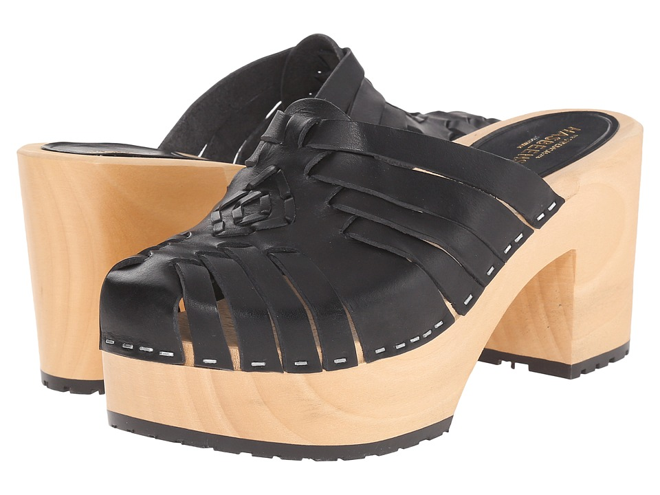 Swedish Hasbeens - Huarache Slip In (Black) Women's Clog Shoes