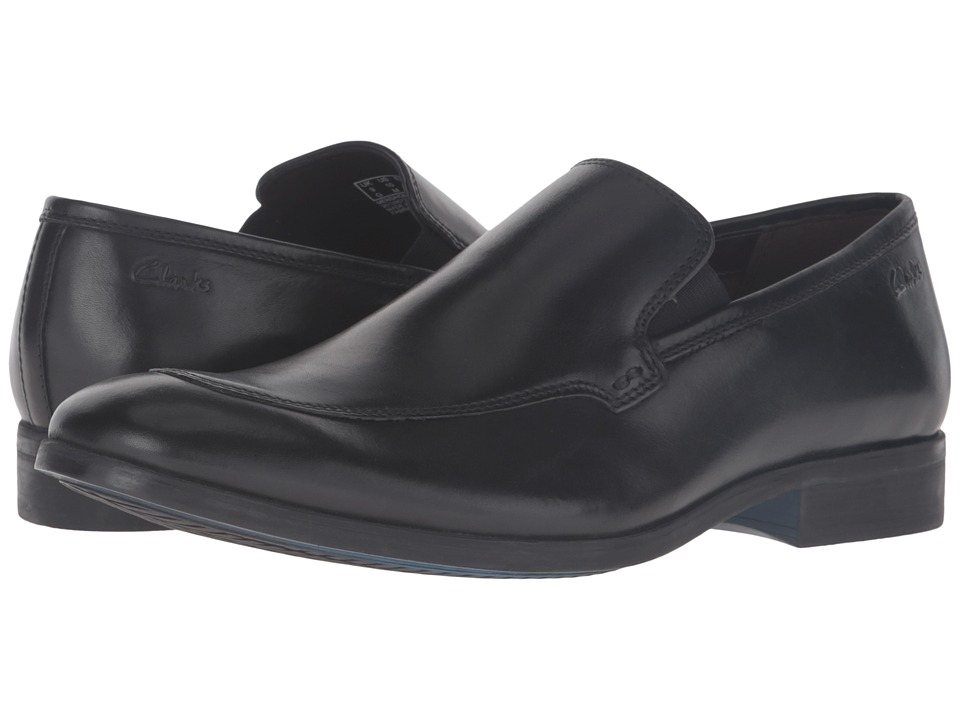 Clarks - Banfield Step (Black Leather) Men's Slip-on Dress Shoes