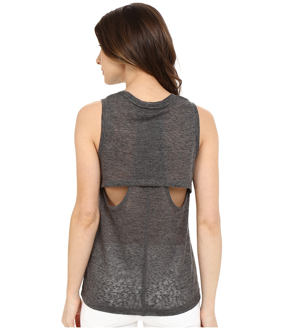 Blank NYC - Muscle Tee with Overlapping Racerback Detail (Charcoal Grey) Women's Sleeveless