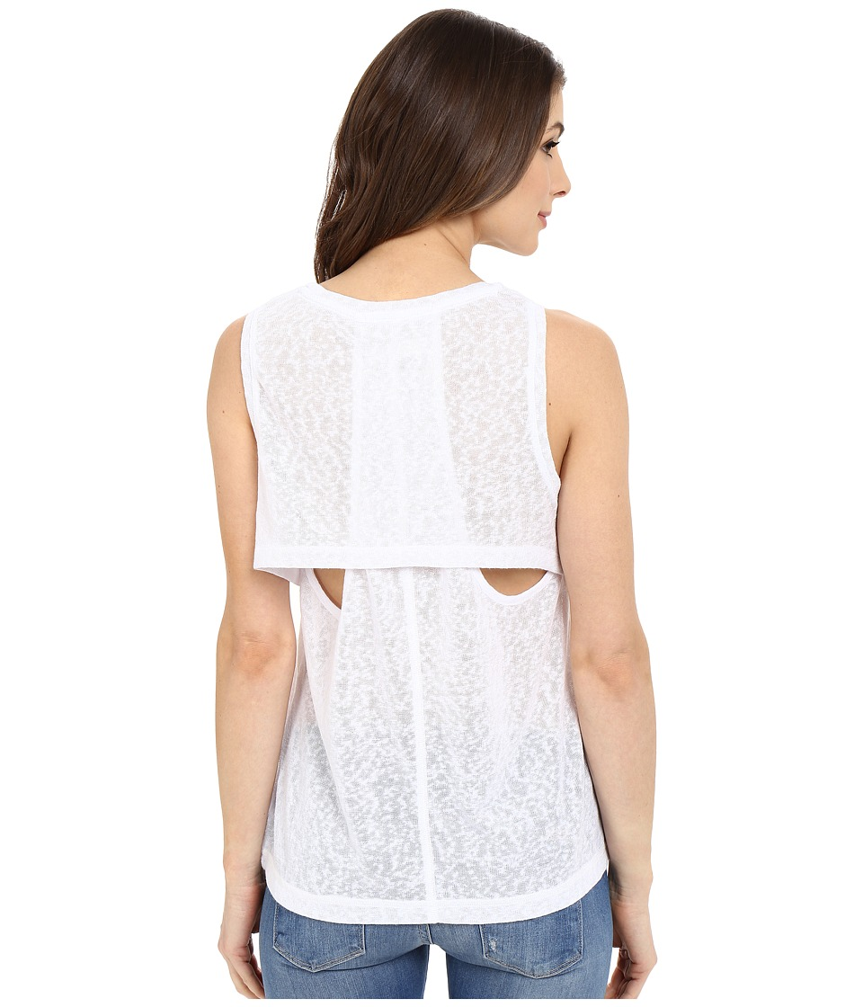 Blank NYC - Muscle Tee with Overlapping Racerback Detail (White) Women's Sleeveless