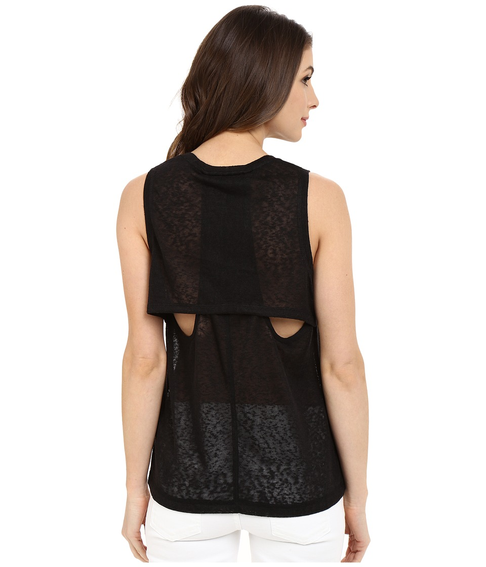 Blank NYC - Muscle Tee with Overlapping Racerback Detail (Black) Women's Sleeveless