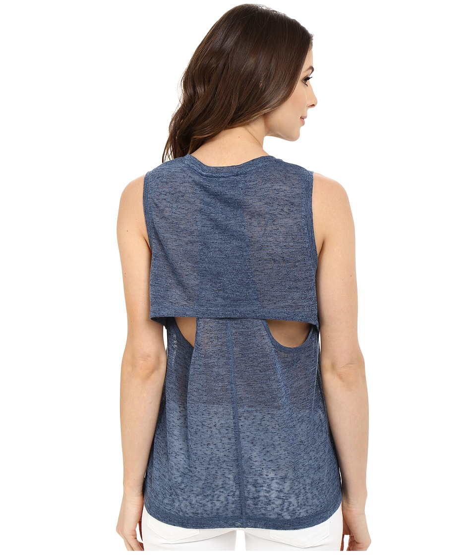 Blank NYC - Muscle Tee with Overlapping Racerback Detail (Blue) Women's Sleeveless