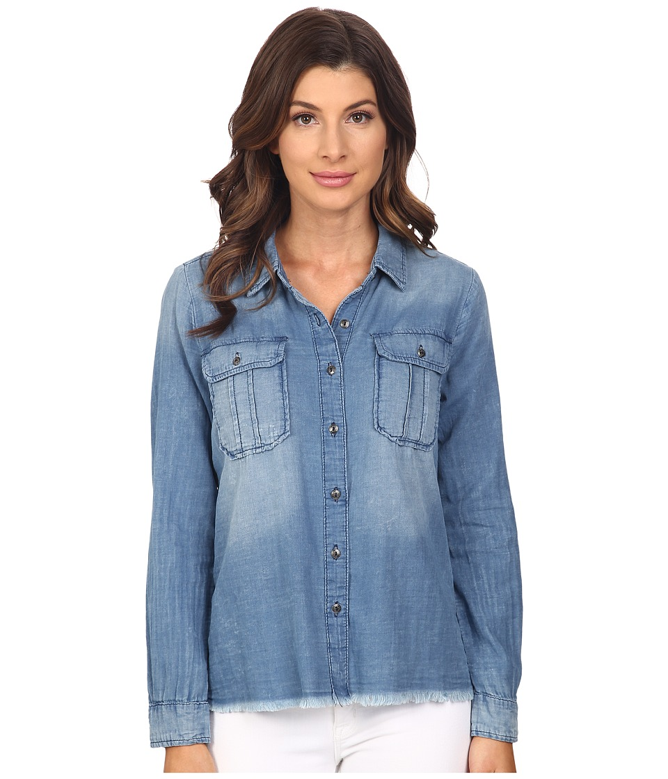 Blank NYC - Denim Shirt with Released Hem (Denim Blue) Women's Long Sleeve Button Up