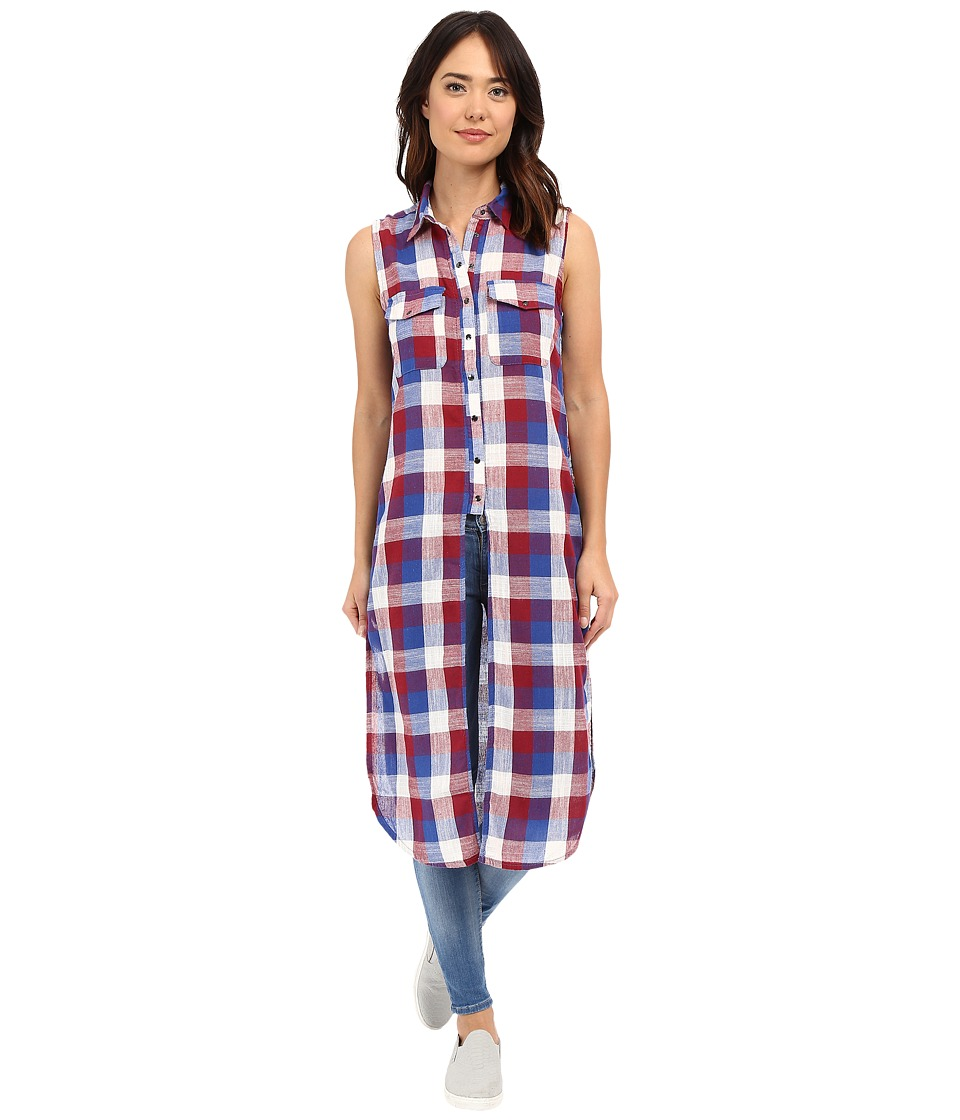 Blank NYC - Sleeveless Plaid Shirt with Slits (Red/Blue Combo) Women's Sleeveless
