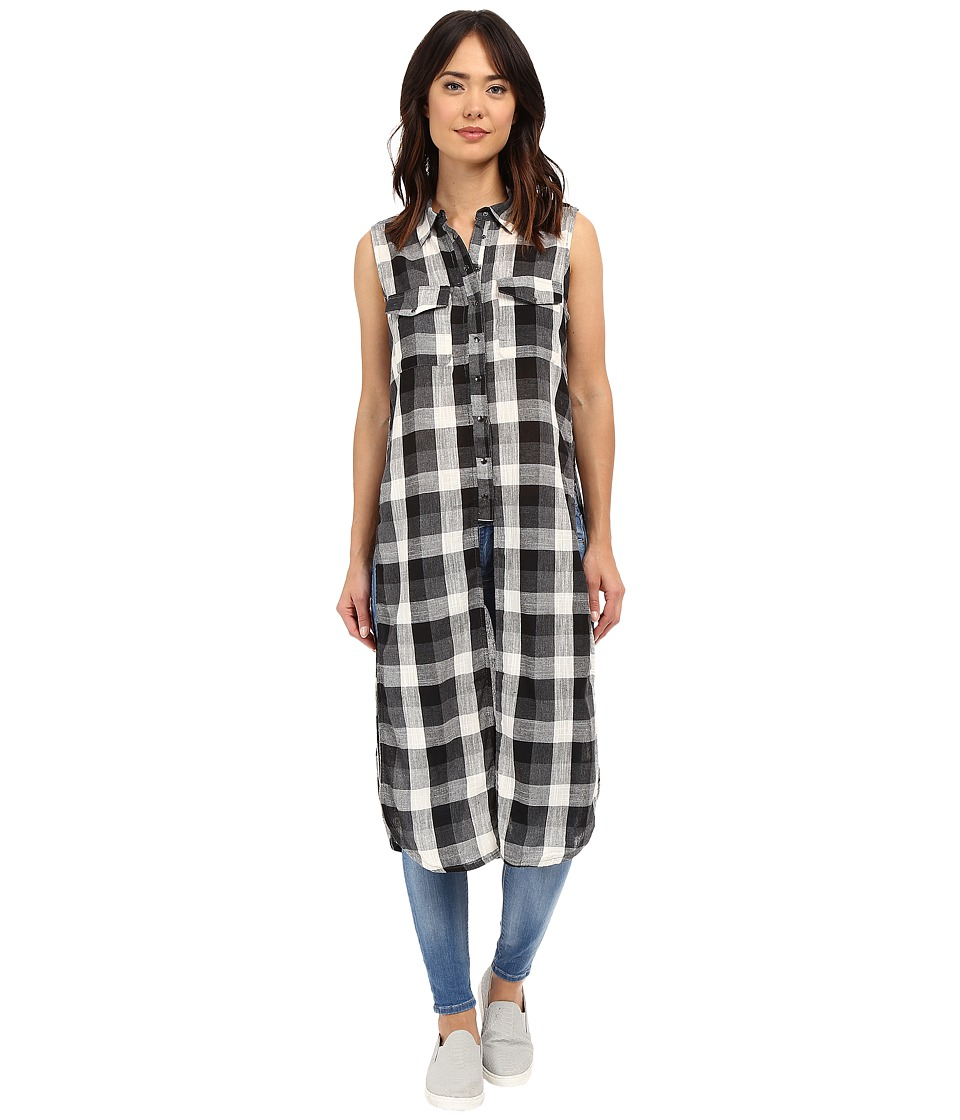 Blank NYC - Sleeveless Plaid Shirt with Slits (Black/Natural Combo) Women's Sleeveless