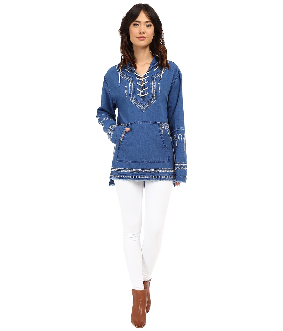 Blank NYC - Denim Embroidered Hooded Shirt (Blue) Women's Clothing