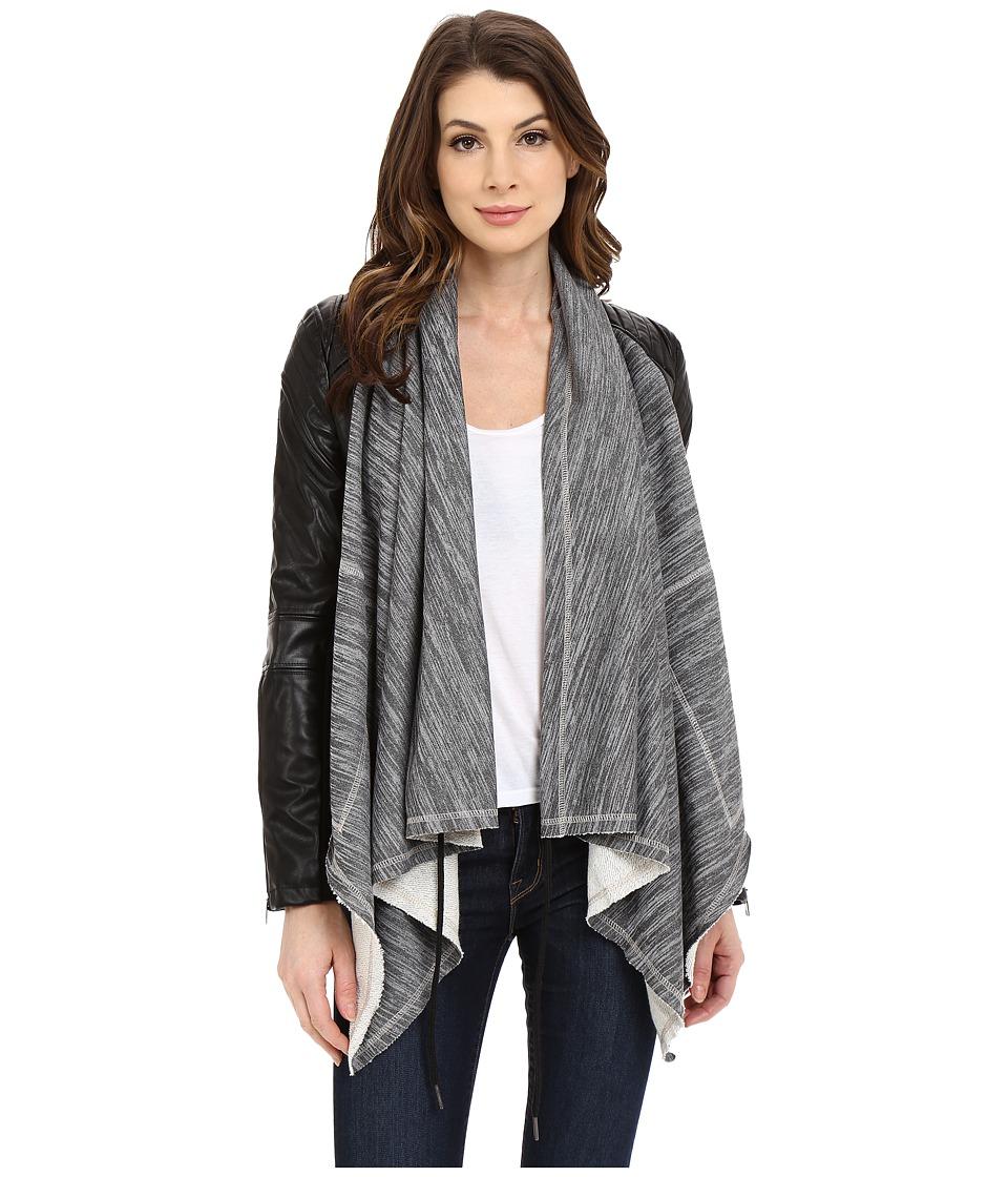 Blank NYC - Vegan Leather Sleeved French Terry Drape Front Jacket (Grey/Black) Women's Jacket