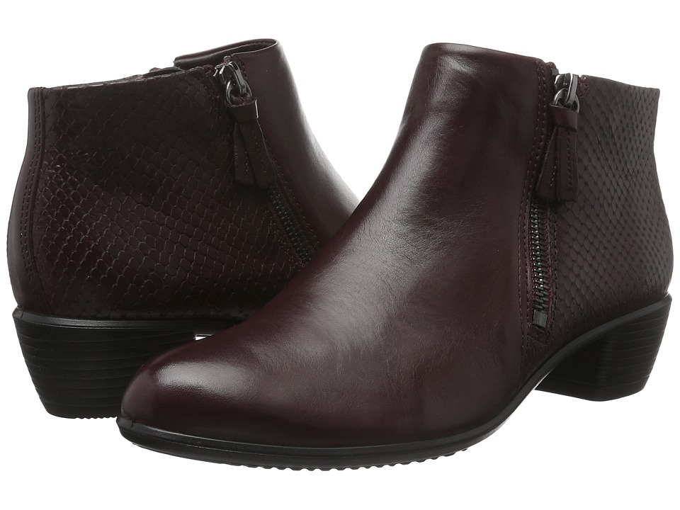 ECCO Touch 35 Bootie (Bordeaux/Bordeaux Cow Leather) Women
