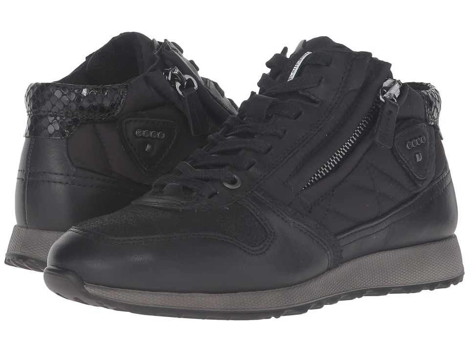 ECCO - Sneak Zip (Black/Black/Black) Women's Shoes