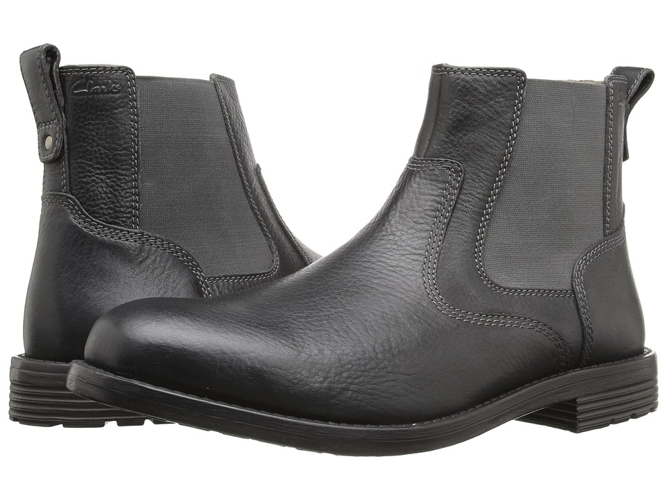 Clarks Faulkner On (Black Leather) Men