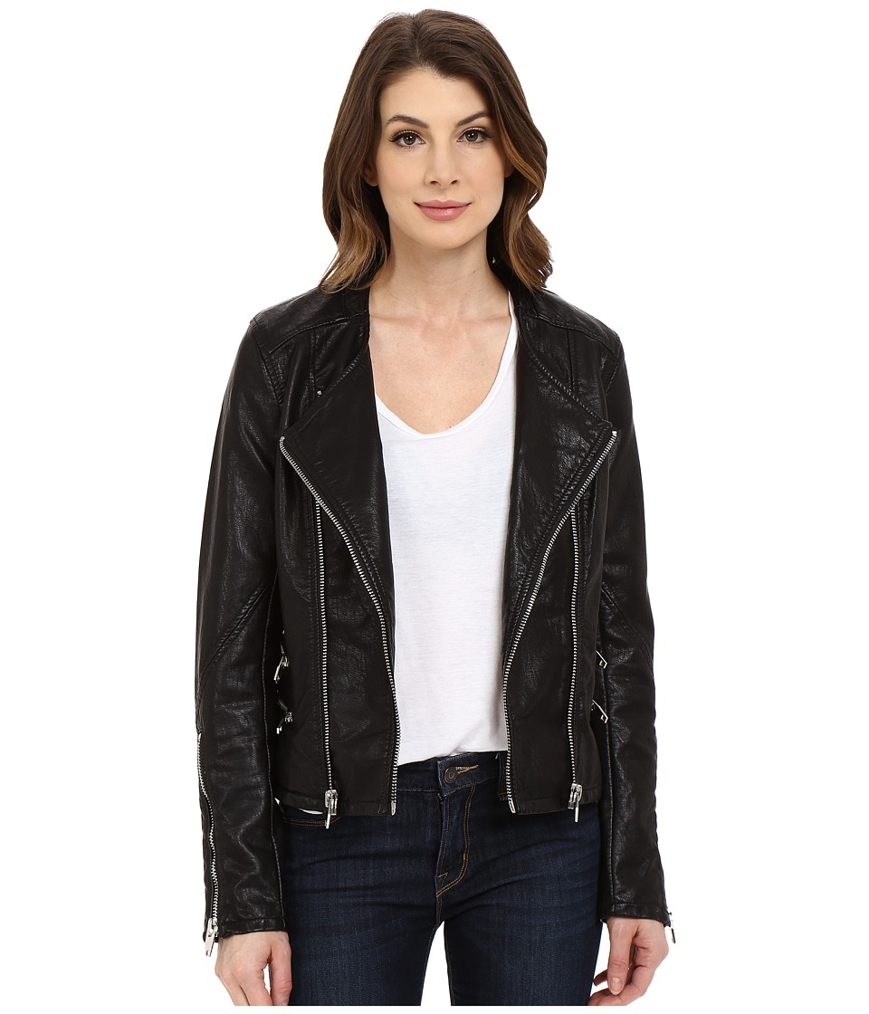 Blank NYC - Vegan Leather Moto Crop Jacket (Black) Women's Jacket